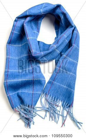 wool blue chekered scarf on white