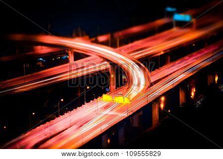 Futuristic Night View Of Highway Interchange. Bangkok, Thailand