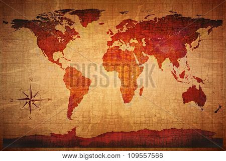 World Map on old grungy antique and yellow cracked paper background (Map derived from NASA image http://visibleearth.nasa.gov )