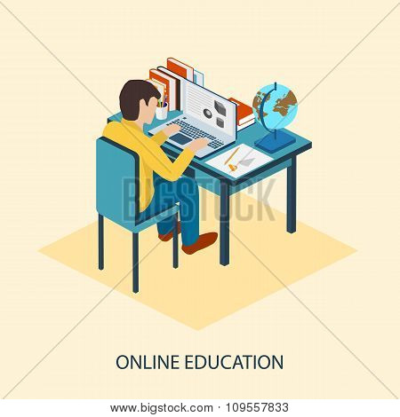 Online education. Students are taught online.
