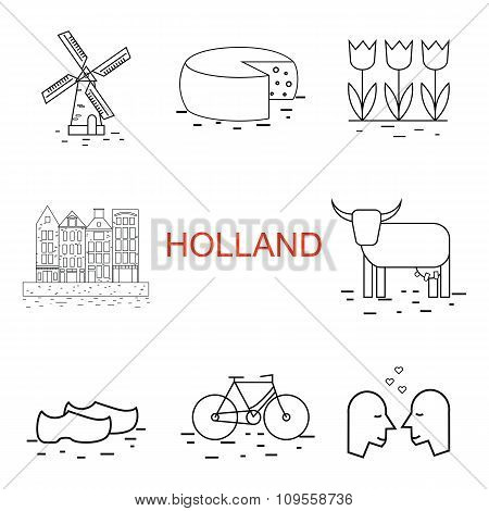 Vector  line Holland icon. Windmill, tulip, bike, clogs. Dutch culture poster