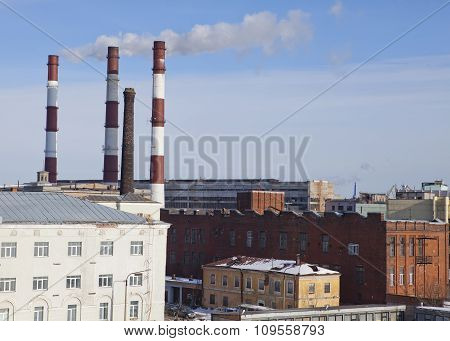 St. Petersburg. Industrial region and pipes of warmly electro station.