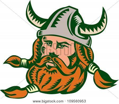Viking Warrior Head Woodcut