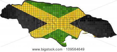Jamaica Map With Flag Inside.eps