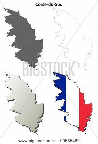 Corse-du-Sud, Corsica blank detailed outline map set poster