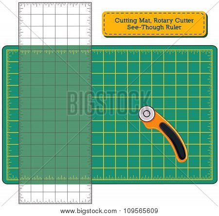 Cutting Mat, Rotary Cutter, See-through Ruler