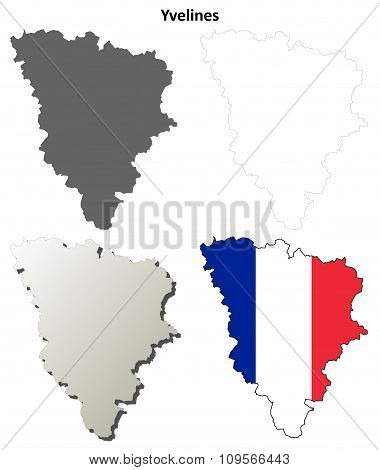 Yvelines, Ile-de-France outline map set