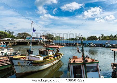 VITORIA, BRAZIL - CIRCA JULY 2015: Boats on the water from an old fishing village in Espirito Santo, Brazil
