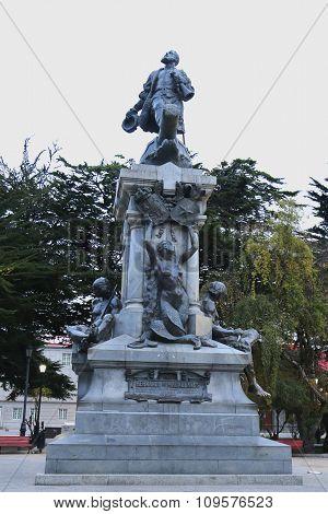 Memorial to Ferdinand Magellan in Punta Arenas, Chile