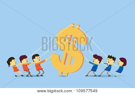 Two people group playing tug of war for money