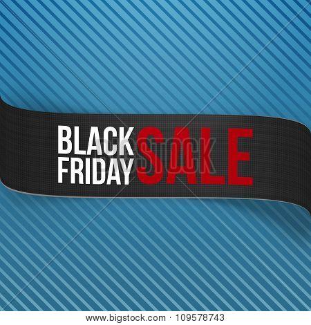 Black Friday Sale Ribbon on blue Background