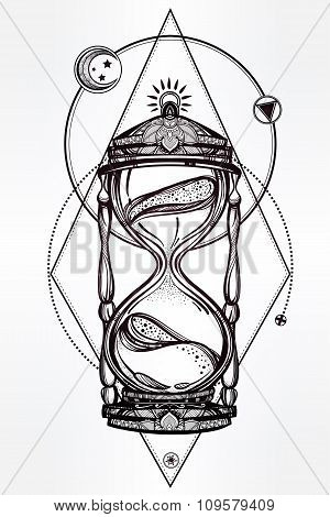 Hand drawn romantic design of a hourglass.