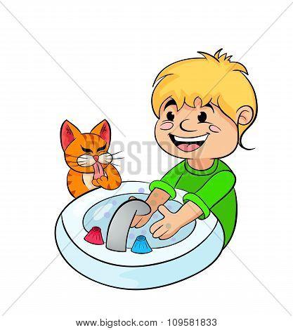 Teenager Boy Washing His Hands