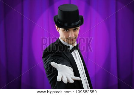 Portrait Of Magician Gesturing