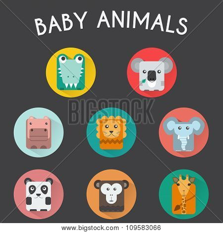 Wild Baby Animals Icons Set