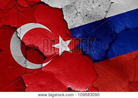 Flags Of Turkey And Russia Painted On Cracked Wall