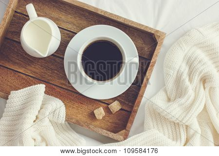 Cup Of Coffee, Cream And Brown Sugar On Wooden Tray