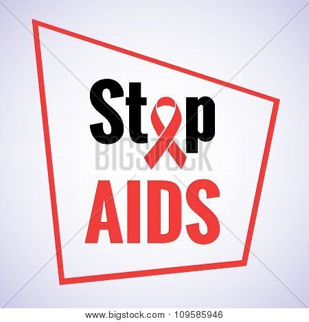 Stop AIDS - 1st December AIDS day template red ribbon on isolated background with shadow. Vector illustration EPS 10 poster