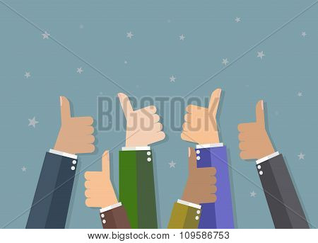 Businessman hold thumbs up