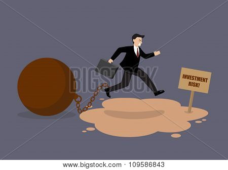 Businessman With The Weight Jumping Over The Quicksand