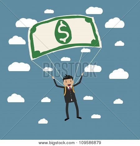 Cartoon businessman uses a dollar for a parachute, gold parachute concept, anticrysis, financial. vector illustration in flat design on blue backgound with clouds poster