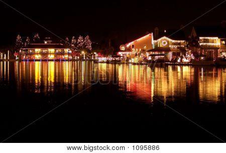 Christmas Lights Reflecting On Lake