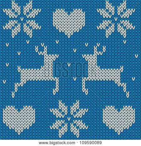 Blue Knitted deers sweater in Norwegian style. Knitted Scandinavian ornament. Vector seamless Christmas sweater pattern. poster
