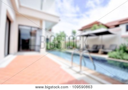 Blurred / Defocussed Abstract Background Of A Private Swimming Pool