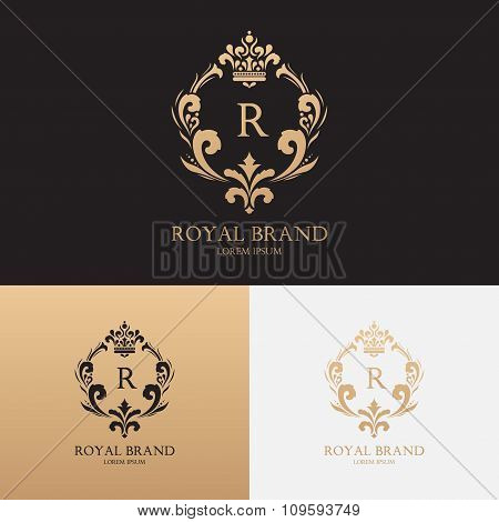 Vector template of logo of boutique brand with crown and floral ornament Brand