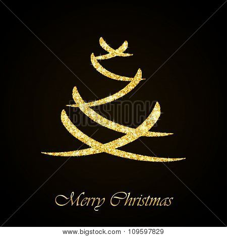 Vector Christmas tree gold glitter greeting card