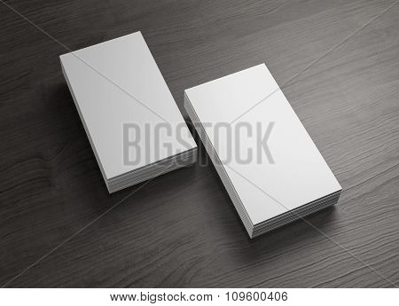 2 Stack Of Chinese Business Cards Of Wood Table