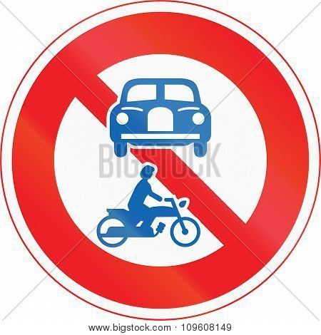 Japanese road sign - No Thoroughfare for motor vehicles. poster