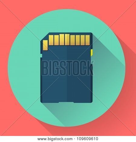 SDHC Memory card icon. Flat style
