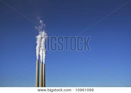3 Smoke Stacks & Power Plant