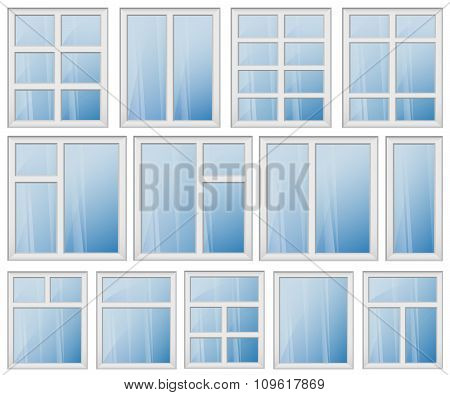 Window Frame Design Set Blue Glass