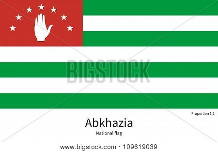 National flag of Abkhazia with correct proportions, element, colors