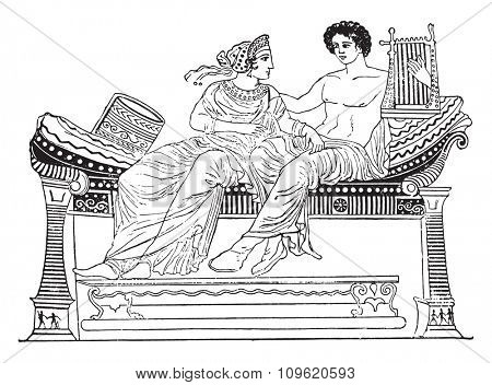 Daybed, vintage engraved illustration. Private life of Ancient-Antique family-1881.