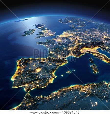 Detailed Earth. Spain And The Mediterranean Sea On A Moonlit Night