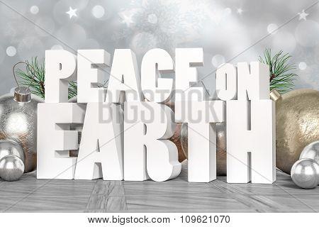 Peace On Earth 3D Text