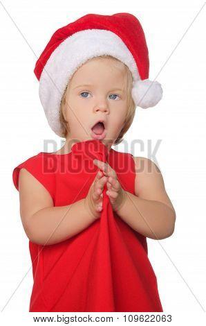 Surprised Girl In Christmas Cap