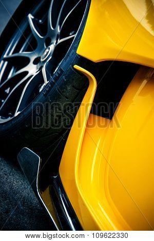 LONDON, UK - CIRCA JUNE 2014: Detail of a McLaren P1. The McLaren P1 is a limited production hybrid sports car by manufacturer McLaren Automotive.