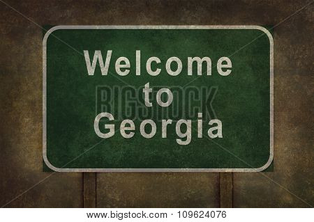 Welcome To Georgia Roadside Sign Illustration