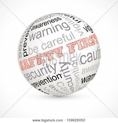 Safety first theme sphere with keywords full vector poster