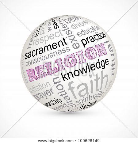 Religion theme sphere with keywords full vector poster