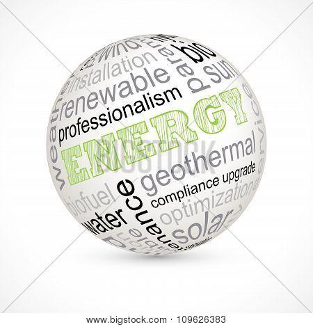 Energy Theme Sphere With Keywords