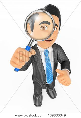 3D Businessman Looking Through A Magnifying Glass