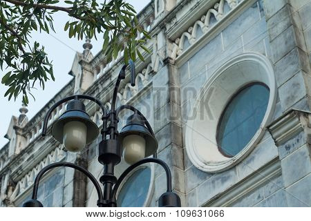 The Classical Road Lamp With Gothic Church
