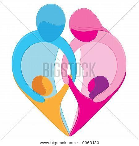 Symbole du coeur amour familial