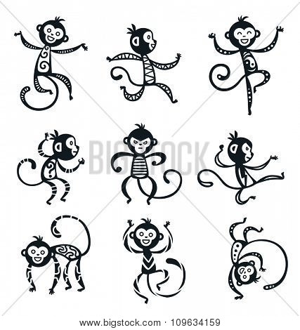 Chinese New Year monkey vector decoration icons. 2016 new year monkey cartoon chinese style. Happy monkey vector for New Year China design. Chinese Monkey vector illustration. Monkey black, white