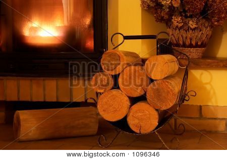 Fireplace And Logs